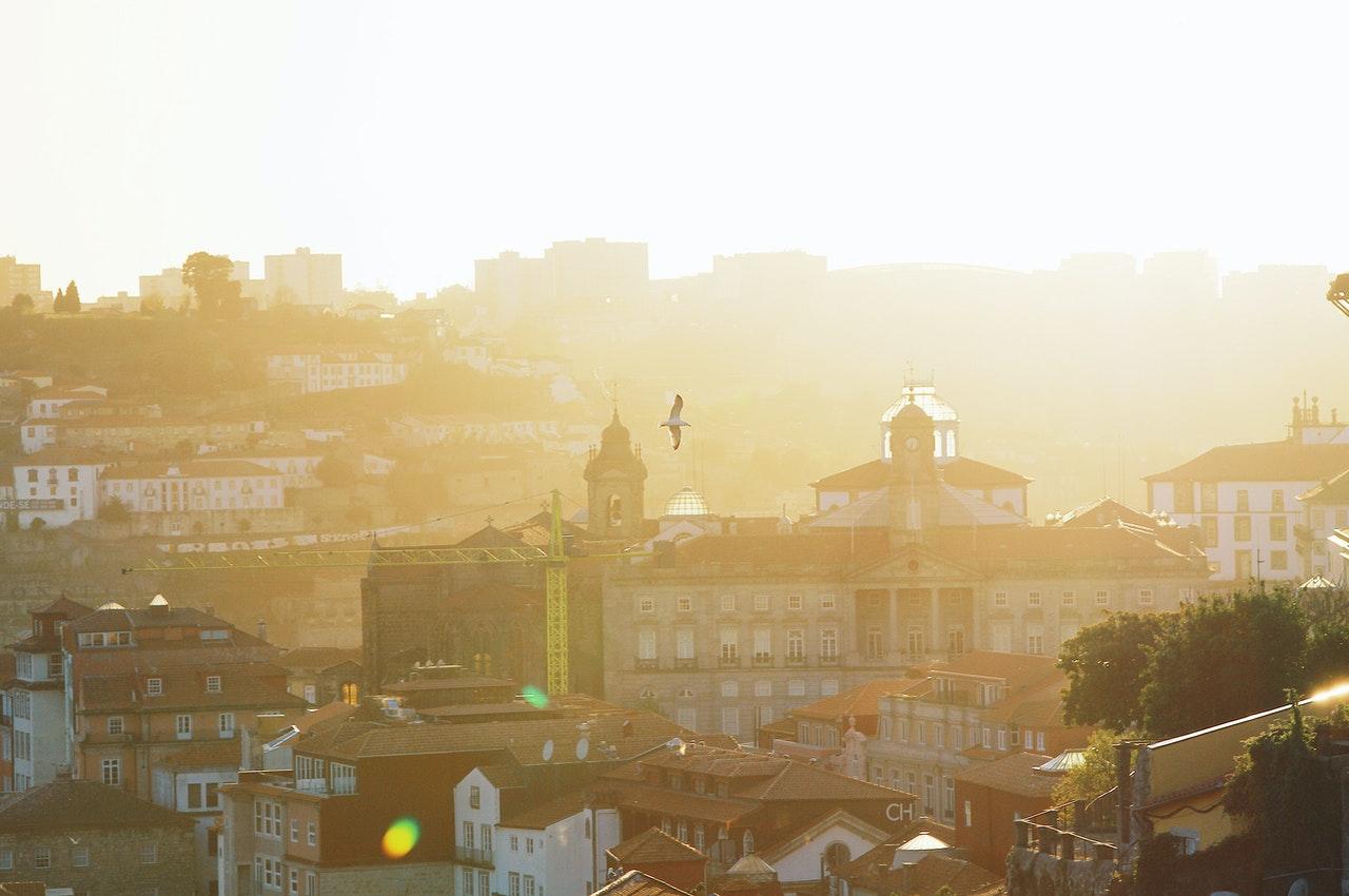 Pôr-de-sol no Porto